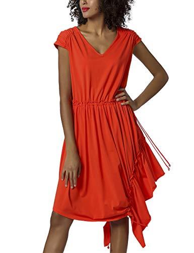 APART ekstrawagancka damska sukienka, letnia sukienka, czarna, ukośnie rozmieszczona na brzegu, szeroka spódnica, pomarańczowy, 38 PL