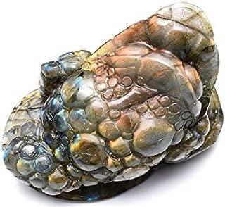 【 福縁閣 】【1点物】金蟾 ピンクラブラドライト 80x47mm 彫刻品 置物_C1933 【宅急便のみ】 天然石 パワーストーン ビーズ