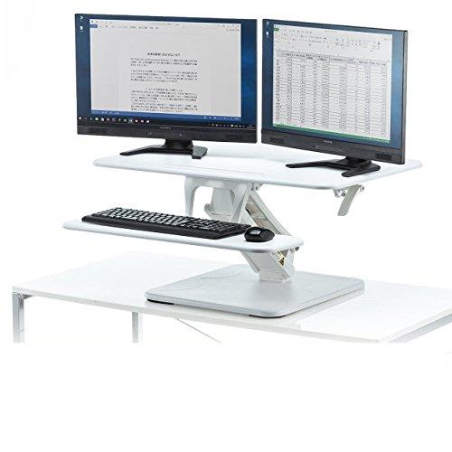 サンワダイレクト スタンディングデスク 卓上 ガス圧昇降 モニターアーム取付対応 幅80cm キーボード台搭載 スマホ・タブレットスタンド付 無段階高さ調節 100-MR129