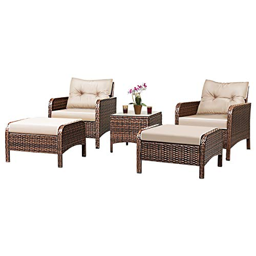 Tangkula Wicker Furniture Set 5 Pieces PE Wicker Rattan Outdoor All Weather Cushioned Sofas and Ottoman Set Lawn Pool Balcony Conversation Set Chat Set