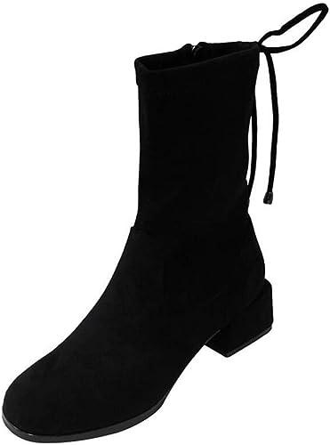 Frauen Round Toe Knöchel Stiefelie 3Cm Low Heel Martin Stiefel Reißverschluss Bowknot Spitze Kleid Stiefel Knight Stiefel EU Größe 35-39