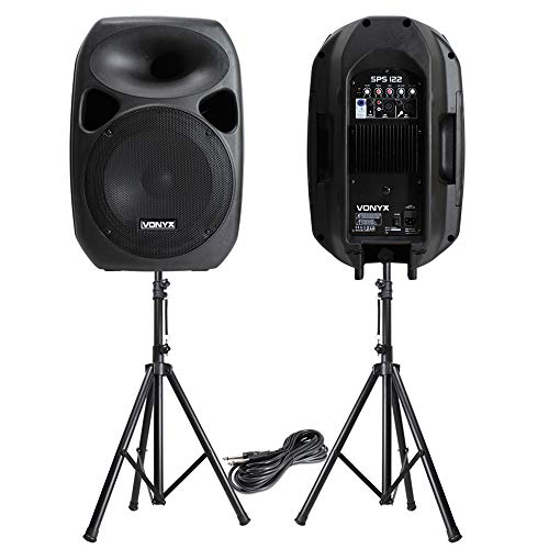 VONYX Powerful 12' Active Disco PA Speakers Mobile DJ Portable Sound System & Stands