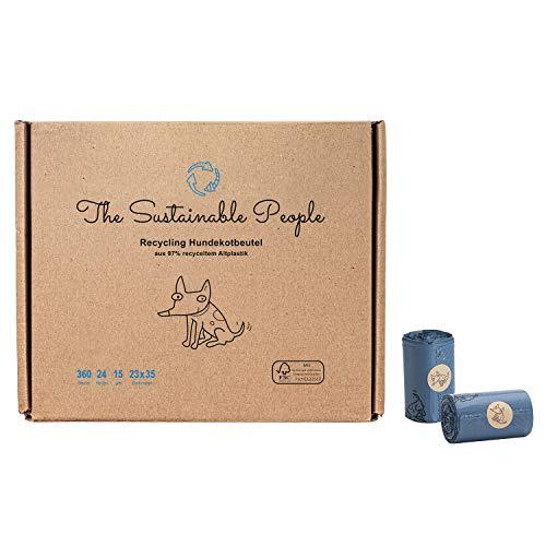 The Sustainable People 360 Sacchetti riciclabili per deiezioni canine, realizzati in modo sostenibile con il 97% di plastica riciclata, grandi, spessi (15 µm), sicuri e resistenti all'umidità