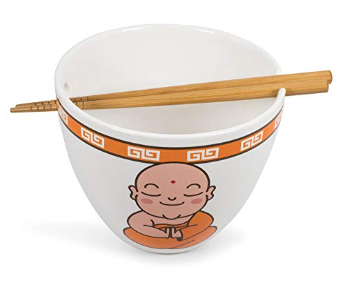 Toynk Hungry Buddha Nom Nom Nom Japanese Ceramic Dinner Set | 16-Ounce Ramen Bowl and Chopsticks Set