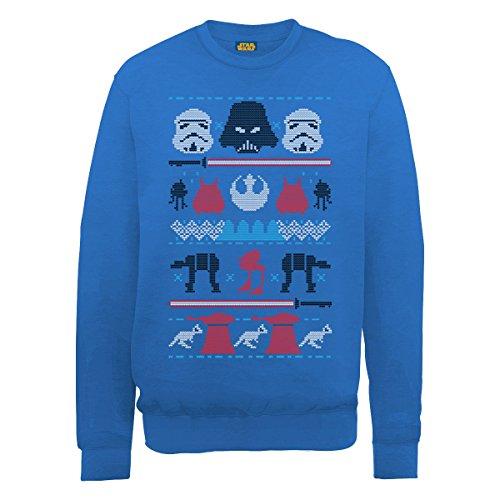 Star Wars Christmas Darth Knit Felpa, Blu(Royal Blue), L Uomo