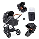 Dukaan Hauck / Pacific 3 Dukaan N Drive / 7 gabal Combi Stroller / Baby Carrier Gr. 0 / canugga musqusha lagu beddeli karo / wareego / joodariga / Beindecke / cagaha / dhererka-isku hagaajin karo / iftiin / Caviar