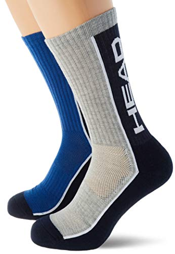 Head Performance Crew Socks (3 Pack) Calcetines de tenis, Melange Azul/Gris, 39/42...