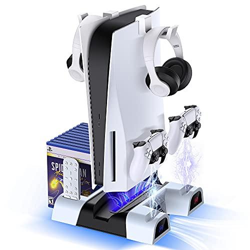 GESMATEK PS5 Ständer, PS5 Controller Ladestation mit Lüfter für Playstation 5 Konsole & PS5 Digital Version. All-in-one PS5 ständer vertikal für 10 Spiele Lagerung/PS5 Headset Ständer/Fernbedienung.