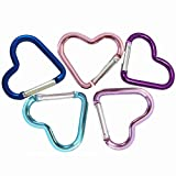 Beetoo Heart Shaped Carabiner Hook, Aluminum Alloy Snap Clip Key Holder, Keychain Tool for Fishing Camping Hiking Backpack Accessory (5 Pack Random color)