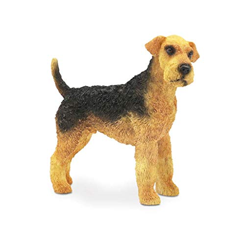 Airedale Terrier Statue Decoration, Resin Riverside Dog Bingley Dog Simulation Dog Model Office Living Room Desktop Decoration H15CM for Home Garden