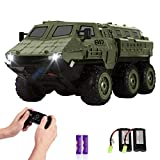 RC Cars, 1/16 Scale RC Military Truck, 6WD 2.4GHz 98 Foot RC Distance, Remote Control Army Armored Car with 2 Batteries for 120 Min Play, All-Terrain Off-Road Army Truck for Adults Kids Boys