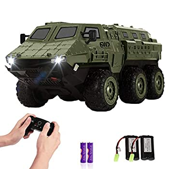 RC Cars 1/16 Scale RC Military Truck 6WD 2.4GHz 98 Foot RC Distance Remote Control Army Armored Car with 2 Batteries for 120 Min Play All-Terrain Off-Road Army Truck for Adults Kids Boys