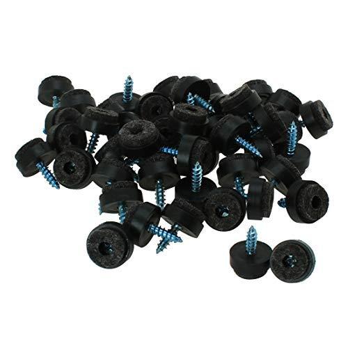 48 almohadillas de fieltro para uñas con clavos sobre Glide Slider, 16 mm, diámetro de suelo protector para muebles de madera, silla, mesa, escritorio, taburete, patas negras