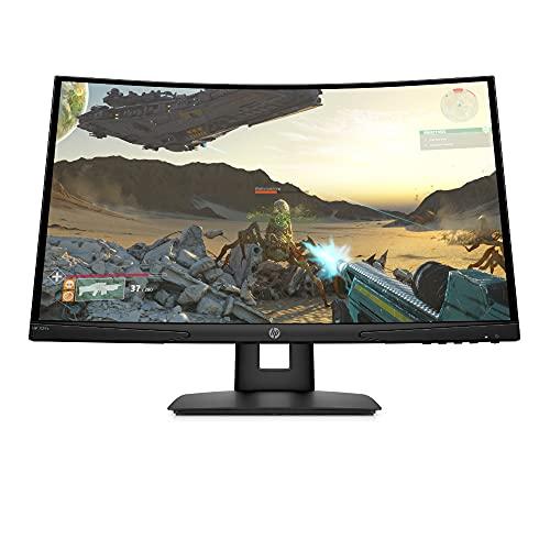 HP X24c Gaming Monitor - 24 Zoll Bildschirm, FHD 1920 x 1080, 1500R VA Curved Display, 144Hz, AMD FreeSync Premium, VESA, HDMI, DisplayPort, Audio-Out, 4ms Reaktionszeit, höhenverstellbar) schwarz