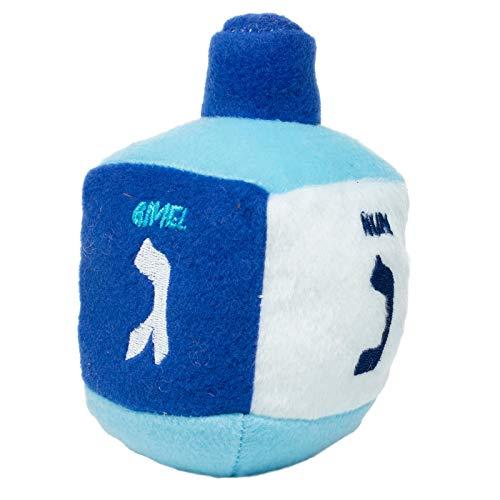 Rite Lite CHEWDAICA, Chanukah Plush Squeaky Dreidel Dog Toy Hanukkah, Blue/White Hanukkah