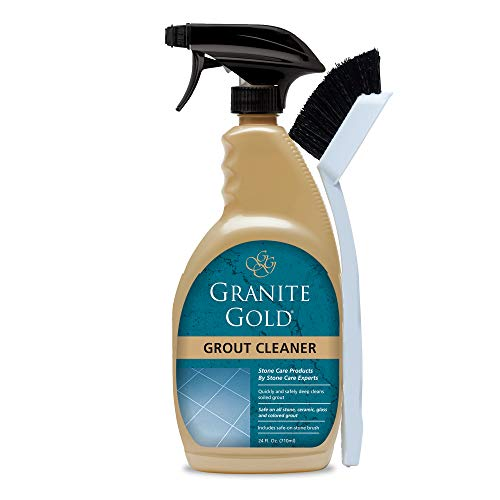Granite Gold Grout Cleaner and Scrub Brush Acid-Free Cleaning for Porcelain, Ceramic Tile, Glass, Natural Stone Surfaces-Made in The USA, 24 Ounces, Multi-Color