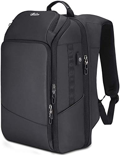 Fresion Laptop Backpack Mens for Travel - Business Backpack for 15.6'' Laptop with USB Charging Port, Water Resistant Travel Backpack Computer Rucksack for Business Travel School Black