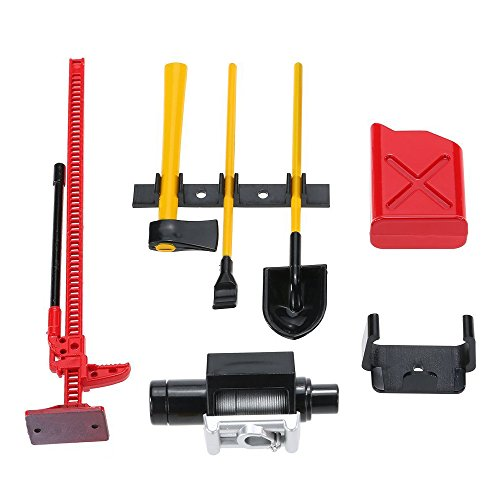 ShareGoo 6PCS RC Plastic Decoration Accessories Tool Set Kit for 1/10 Scale RC Rock Crawler 4WD D90 D110 SCX10 Wraith,Include Gas Can, Winch, Jack, Shovel, Axe, Pry Bar,Red