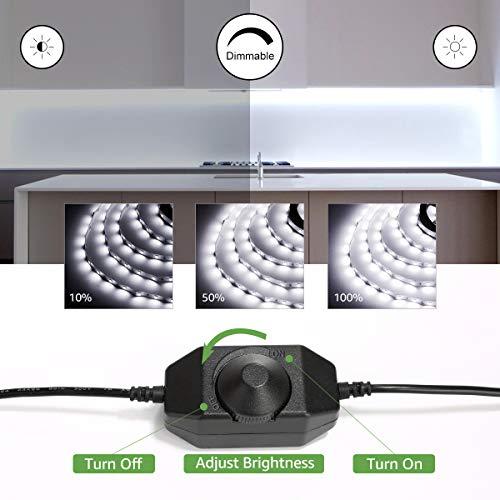 LE 16.4ft Dimmable LED Strip Light Kit with 12V Power Supply, 300 LEDs SMD 2835, Non-Waterproof LED Tape, Flexible Rope Light for Home, Kitchen, Under Cabinet, Bedroom, Daylight White