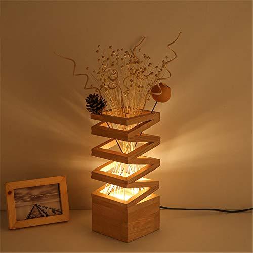 SHELLTB Holztisch-helle Blumen-rustikale einfache Nachttisch-Lampe mit Glasschirm und Schlafzimmer-Nachttisch-Wohnzimmer-Studien-Beleuchtung des festen Holzes,1pcs