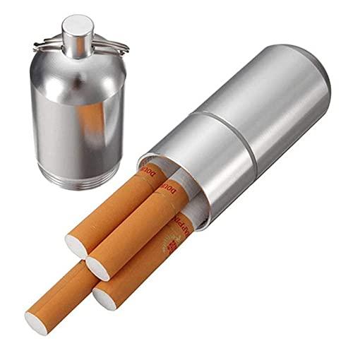シガレットケース メンズ アルミ 葉巻 おしゃれ 無地 タバコケース カラビナ付き 携帯用 軽量 アウトドア 5本入れタイプ (シルバー)
