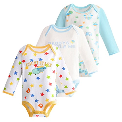 Dooxii Bebé Niños Niñas Manga Larga Bodies Pijama Casual Impreso Monos Regalo Combinación Paquete de 3 Oveja×3 6