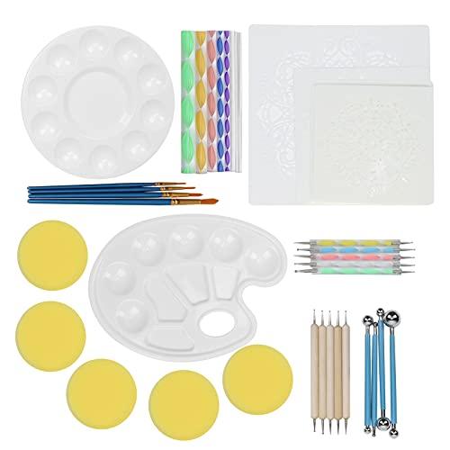 Pintura de puntos, plantilla de arte de bricolaje fácil de ligero palo de adorno DIY Mandala punteado 41 piezas para pintores para álbum