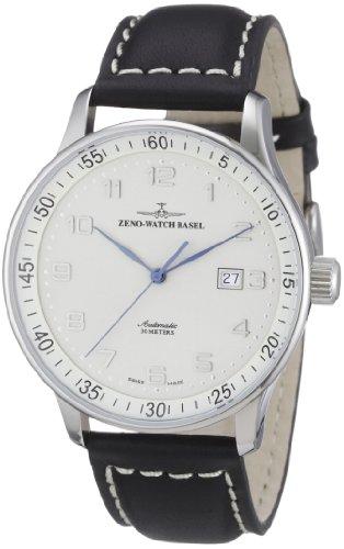 Zeno Watch Basel P554-e2 - Reloj analógico automático para hombre con correa de piel, color negro