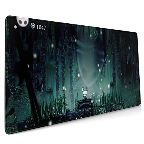 Game Hollow Knight Poster Extended Gaming Mouse Mat,DIY Custom Professional Mouse Pad (35.5x15.8In),Stitched Edges,Desk Pad Keyboard Pad Mat,Water-Resistant,Non-Slip Base,For Work & Gaming