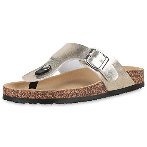 SCARPE VITA Damen Komfort Sandalen Zehentrenner Korkroptik Sommer Schuhe Zehenspreizer Strandschuhe Metallic Flats 176948 Gold Braun 39