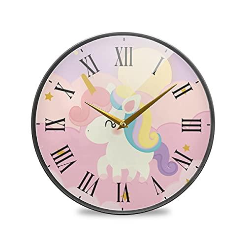 Lindo Unicornio Rosa Nube Arte Reloj de Pared Silencioso Decorativo Relojs para Niños Niñas Cocina Hogar Oficina Escuela Decoración