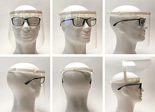 LeVisier 1x Halterung mit 5X Folien Gesichtsschutz Plexiglas Aufklappbar Face Shield Visier Gesichtsschutzschild Gesichtsvisier
