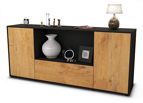 Stil.Zeit Sideboard Ella/Korpus anthrazit matt/Front Holz-Design Eiche (180x79x35cm) Push-to-Open Technik