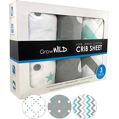 Learn More About Premium Crib Sheet 3 Pack | 100% Cotton, Jersey Soft | Teal Gray White Set, Girl & ...