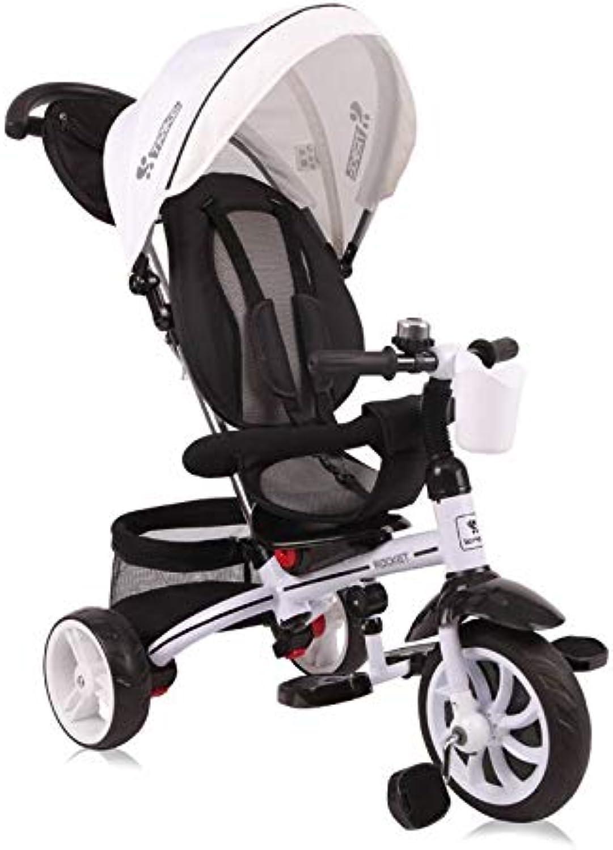 hasta un 70% de descuento Lorelli Tricycle, rueda Rocket 4en 4en 4en 1, push-pole, soporte para bebidas, umbaubar Color blancoo  venta directa de fábrica