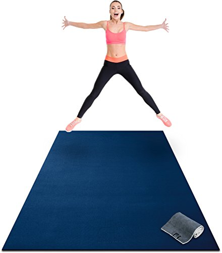 Premium Extra Large Exercise Mat - 8' x 4' x 1/4' Ultra Durable, Non-Slip, Workout Mats for Home Gym Flooring - Jump, Cardio, MMA Mat - Use with or Without Shoes (96' Long x 48' Wide x 6mm Thick)
