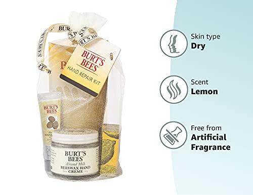 Burt's Bees Gift Set, 3 Hand Repair Moisturizing Products - Almond & Milk Cream, Lemon Butter Cuticle Cream, Shea Butter Cream, with Gloves