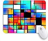 ECOMAOMI 可愛いマウスパッド ブルーカラーカラフルな幾何学的なモンドリアン風の3Dレンダリングポップコージー 滑り止めゴムバッキングマウスパッドノートブックコンピュータマウスマット