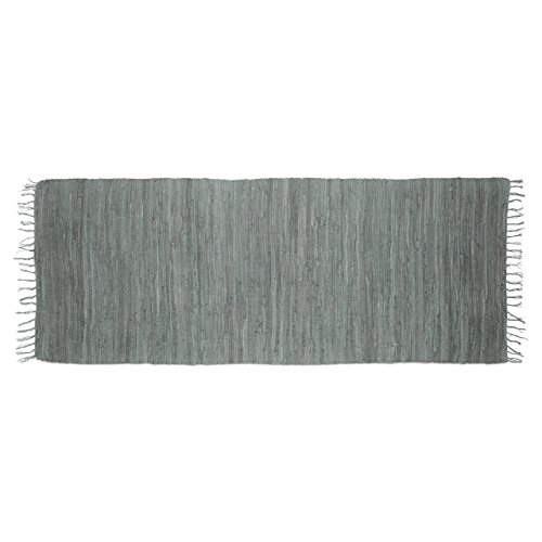 Relaxdays Flickenteppich grau 80 x 200 cm mit Fransen 100 % Baumwolle, einfarbig, Fleckerlteppich, anthrazit