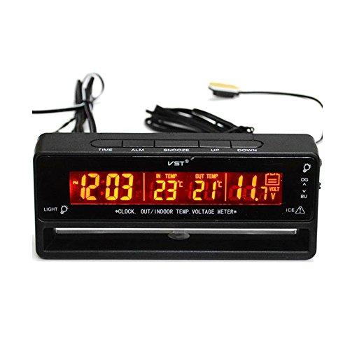 Voiture Thermomètre Digital Horloge Moniteur Tension de Batterie Voltmètre Température