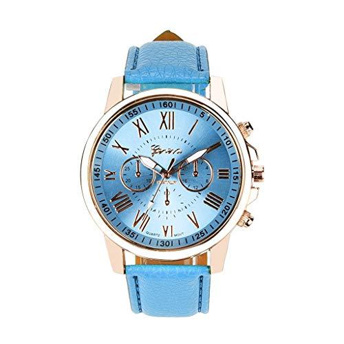Neubula - Reloj de mujer con cronógrafo de cuarzo, analógico, con correa de piel antiarañazos, para deporte, informal, elegante, regalo para mujer y mujer (azul claro)