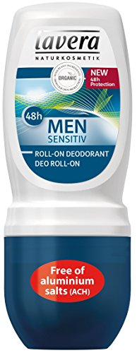 Lavera Men Sensitiv Desodorante Roll On 48h - vegano - cosméticos naturales 100% certificados - cuidado de la piel - 50 ml