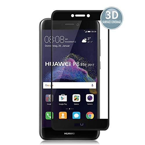 E-Hamii Protector de Pantalla Compatible con Huawei P8 Lite 2017[Negro],[Alta definición][Anti arañazos],Cristal Templado 3D,[Respuesta Sensible][Instalación sin Burbujas]