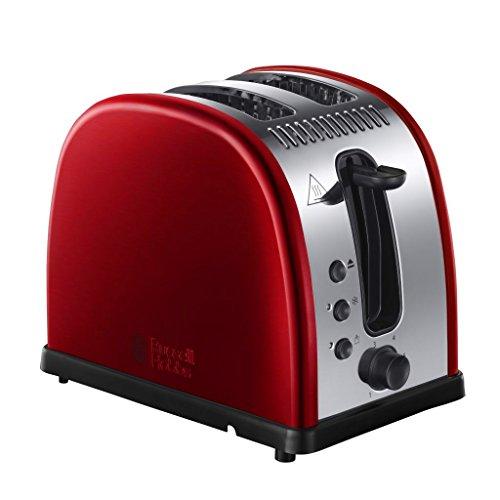 Russell Hobbs Toaster Legacy rot, 2 extra breite Toastschlitze, inkl. Brötchenaufsatz, 6 einstellbare Bräunungsstufen + Auftau- & Aufwärmfunktion, Schnell-Toast-Technologie, 1300W, 21291-56