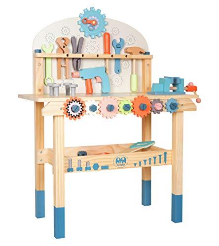 labebe Werkbank Kinder Holz, Werkzeugbank Baby Rollenspiel Spielzeug, Werkstattbank, Werkbank mit Werkzeugsatz, Spielzeug für Kleinkind Jungen und Mädchen ab 3 Jahre alte