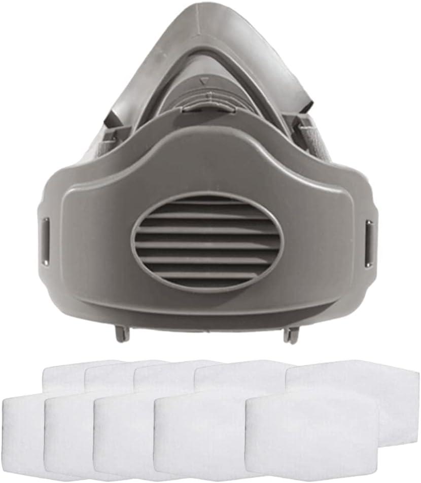 Yahunosu Mascarillas de Polvo Máscara de respirador Maldas respiradoras Anti-Polvo Cubierta de Cara Máscara de respirador con 10 filtros reemplazables Equipo de protección de lámina de algodón