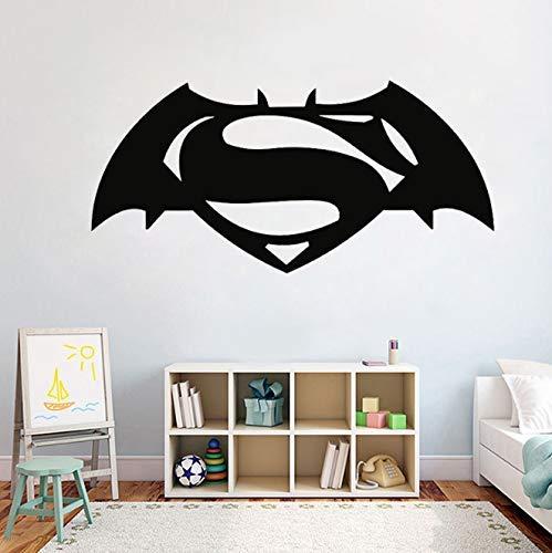 Batman Vs Superman Logo Vinyl Wandaufkleber Superhelden Cartoon Rolle Jungen Schlafzimmer Wandaufkleber Abnehmbare Art Decor Wandbild 58X28Cm