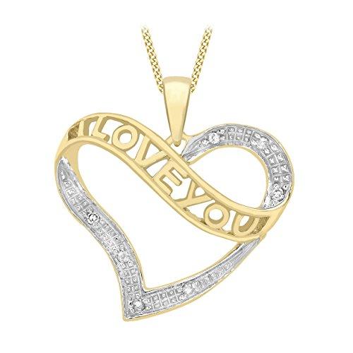 Carissima Gold Cadena de mujer con oro de 9K con colgante, diamante, 46 cm