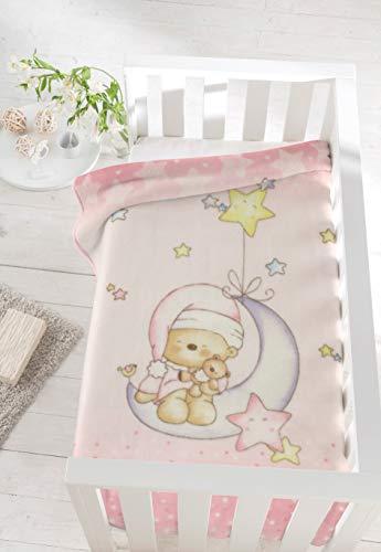 Pielsa Baby - 6376-14, Manta Bebe Invierno, Meses, Estampada, de Cuna, Color Rosa, Tamaño 110 x 140