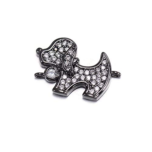 LKITYGF Exquisito Lindas Perlas de Perrito de circón cúbico, Perlas del Encanto del Conector de Cobre de Cobre para Hacer joyería, Accesorios de Pulsera (Color : Black)